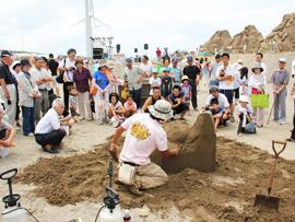 公開砂像づくり